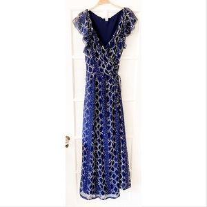 Diane Von Furstenberg DVF Delancey Gown Flutter Wrap Dress Maxi Navy Blue 14